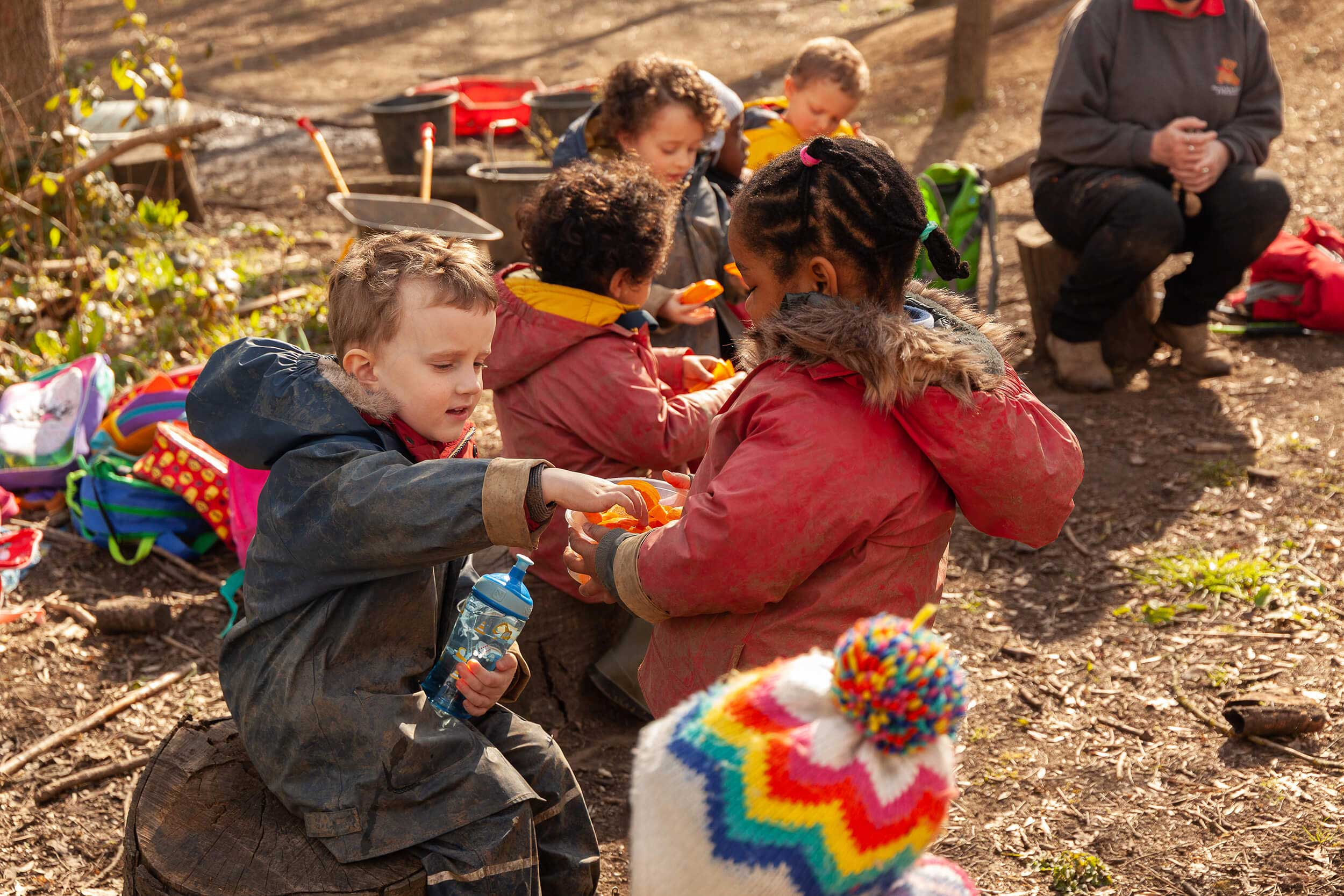 Group of children eating lunch in the forest