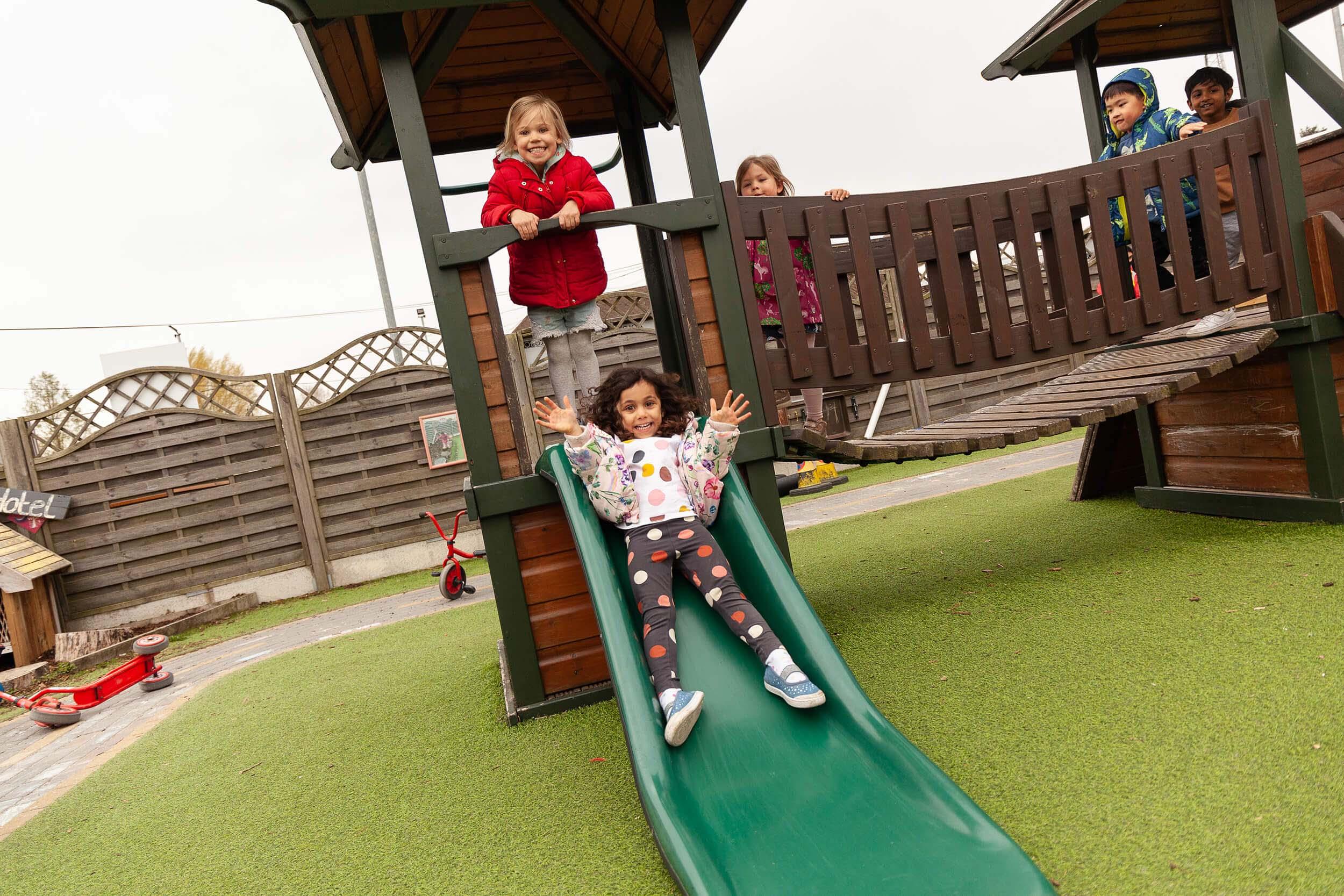 Kids playing on climbing frame