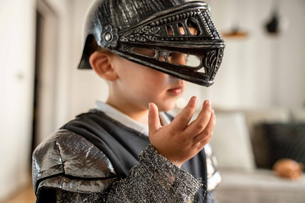 Boy dressed up as a knight