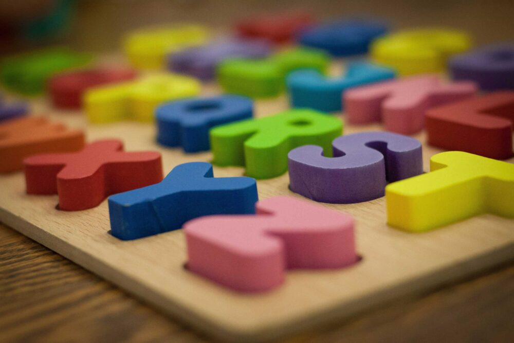 Wooden play letters